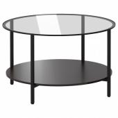 ВИТШЁ Журнальный стол, черно-коричневый, стекло, 75 см