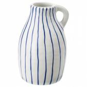 ГОДТАГБАР Ваза, керамика белый/синий, 14 см