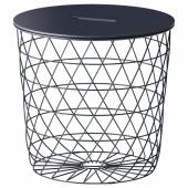 КВИСТБРУ Столик с отделениями д/хранения, темно-синий, 44 см