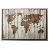 БЬЁРКСТА Картина с рамой, карта мира, цвет алюминия, 200x140 см
