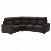 ЛИДГУЛЬТ 4-местный угловой диван, Гранн/Бумстад темно-коричневый