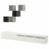 БЕСТО / ЭКЕТ Комбинация для ТВ, белый, светло-серый/темно-серый, 300x42x210 см