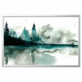 БЬЁРКСТА Картина с рамой, Акварель, цвет алюминия, 78x118 см
