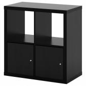 КАЛЛАКС Стеллаж с дверцами, черно-коричневый, 77x77 см