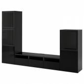 БЕСТО Шкаф для ТВ, комбин/стеклян дверцы, черно-коричневый, Сельсвикен глянцевый/черный дымчатое стекло, 300x42x193 см