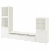 БЕСТО Шкаф для ТВ, комбин/стеклян дверцы, белый, Сельсвикен глянцевый/белый прозрачное стекло, 300x42x193 см